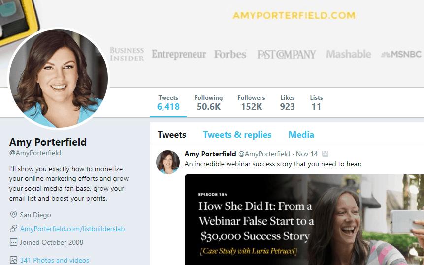 Amy Porterfield Twitter profile
