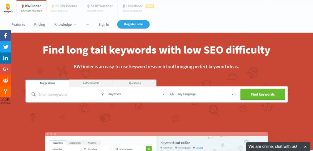 KWFinder keyword suggestion tools