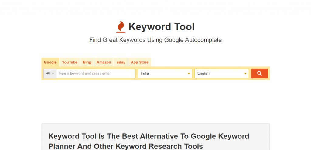 Keyword Tool io keyword suggestion tools