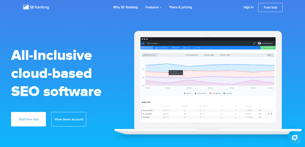 SE Ranking Seo Software keyword suggestion tools