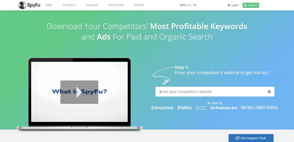 SpyFu Competitor keyword suggestion tools