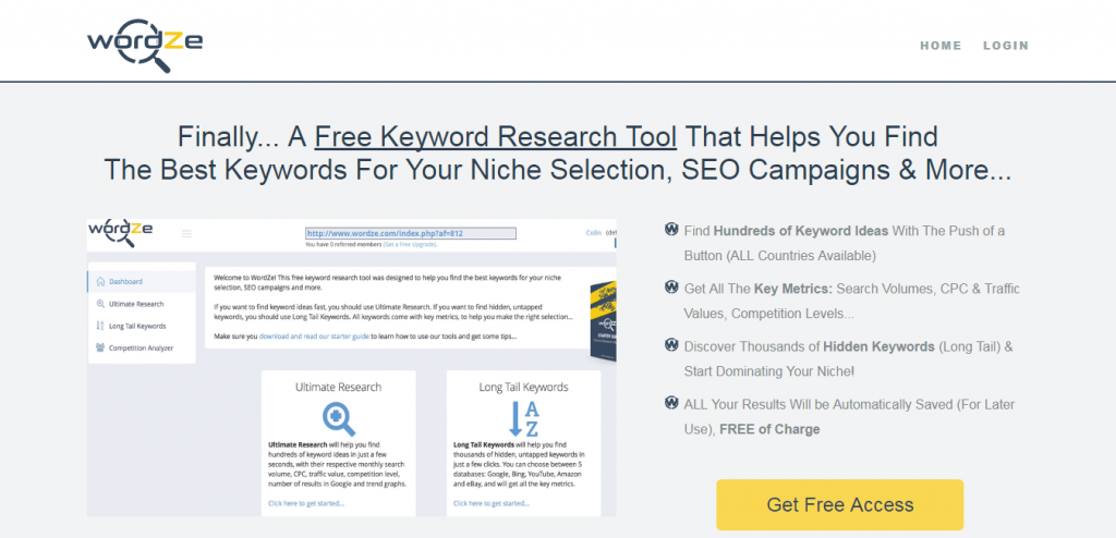 WordZe - Free Keyword suggestion Tools