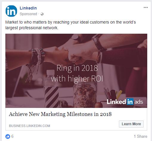 linkedin sponsored Facebook Ad