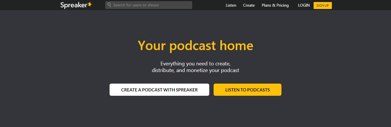Spreaker podcast hosting sites