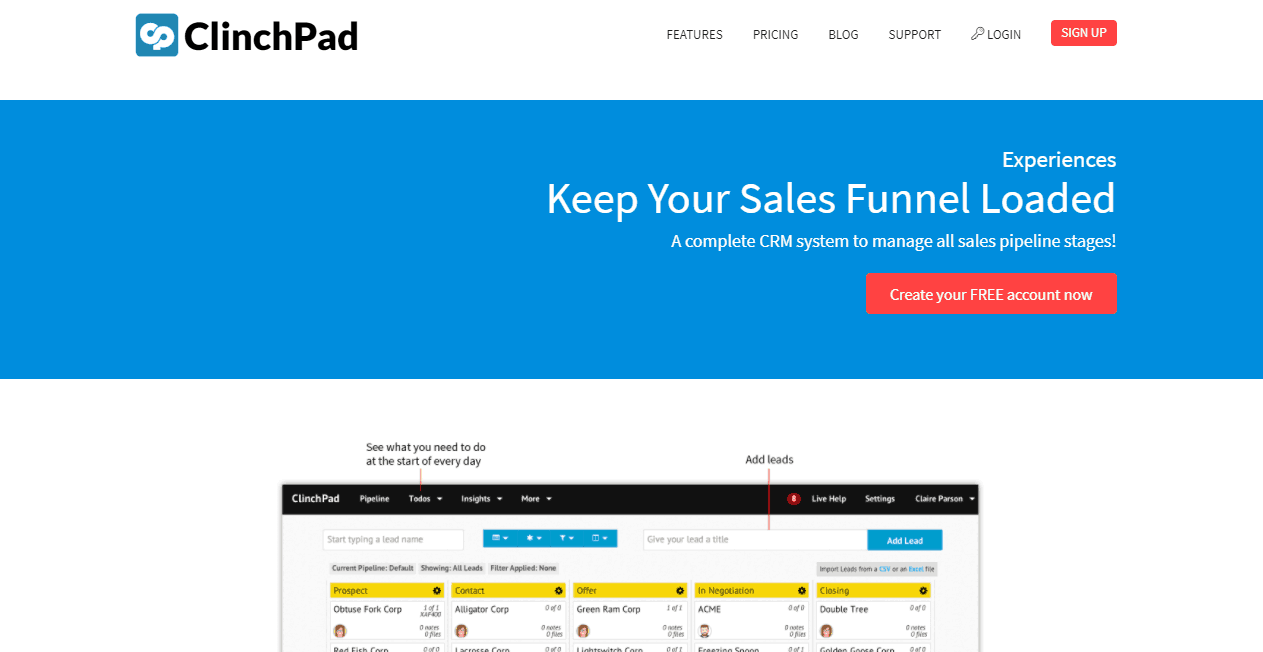 ClinchPad sales funnel tools