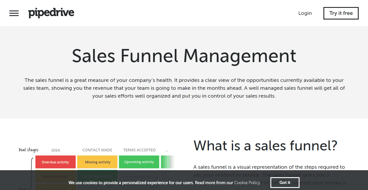 Pipedrive sales funnel tools