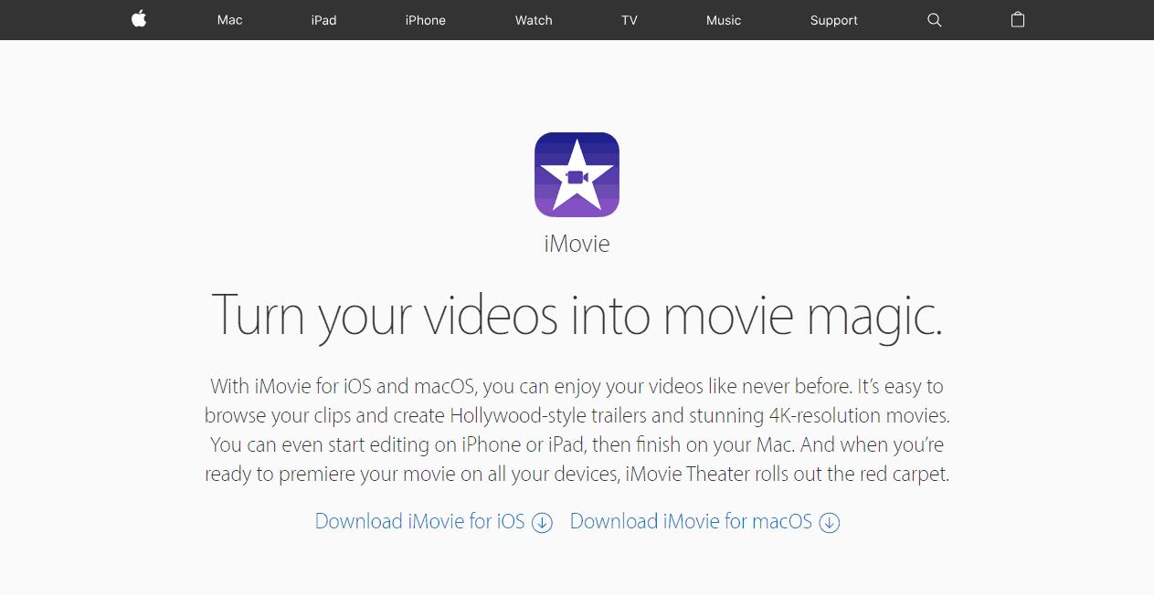 iMovie video making tools