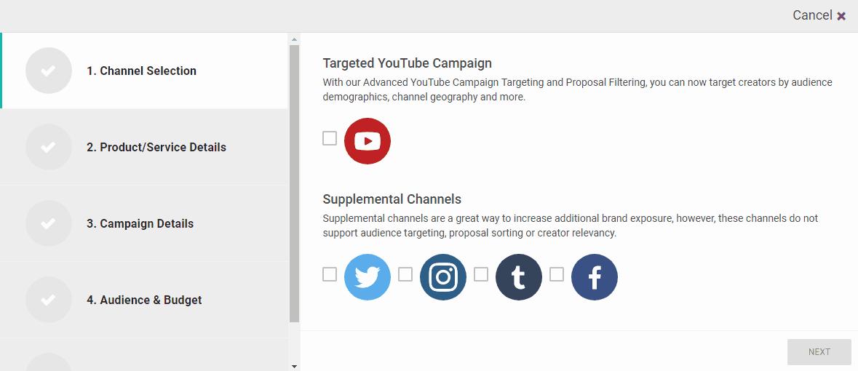 FameBit social channels - influencer marketing tools