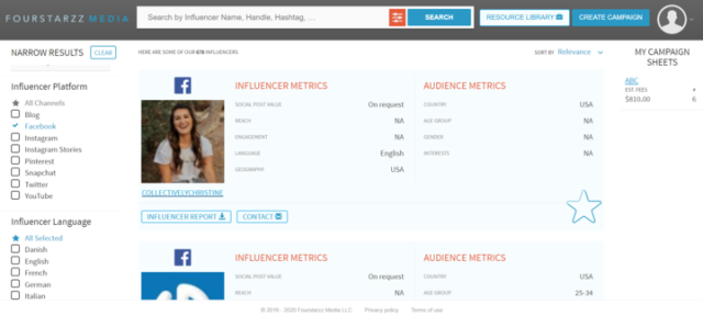 Fourstarzz Media Facebook Influencer Marketing