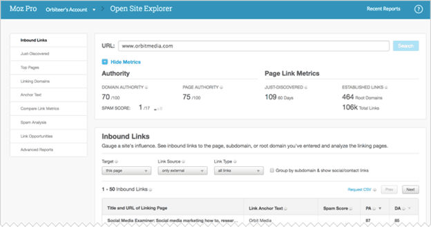 Moz Link Explorer - website traffic