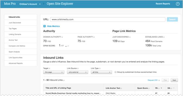 Moz Link Explorer - website traffic