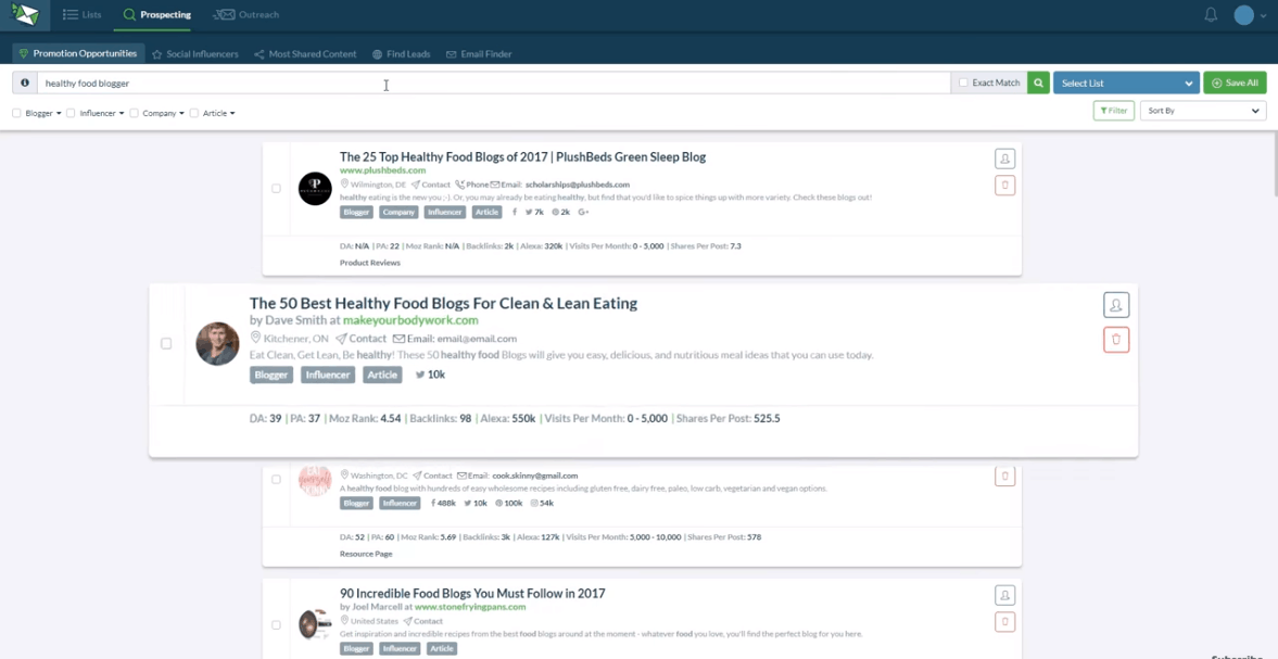 NinjaOutreach - influencer marketing tools