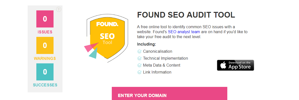 Found - seo audit tool