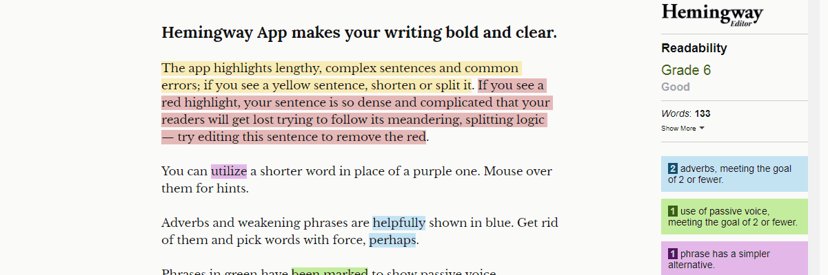 Hemingway Editor - Content Writing Tools