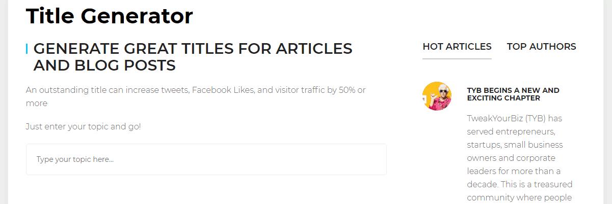 TweakYourBiz's Title Generator - Content Writing Tools