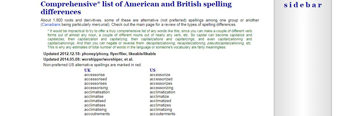 Tysto's UK vs US Spelling List - Content Writing Tools
