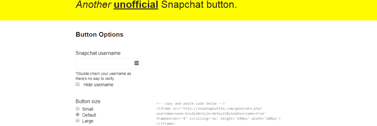Unofficial Snapchat Button