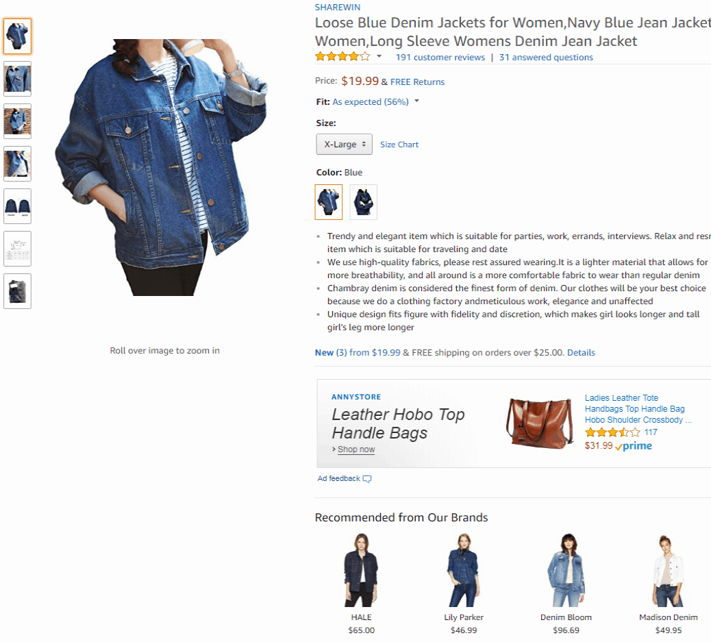 Amazon Ecommerce Product Page