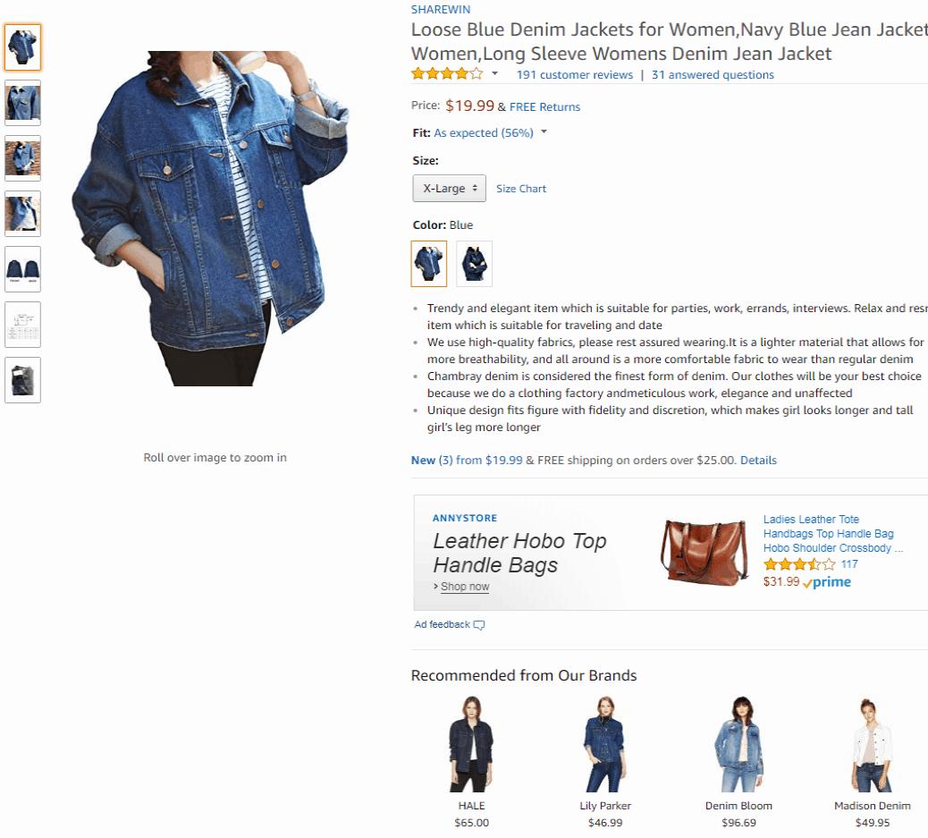 Amazon Ecommerce Product Page