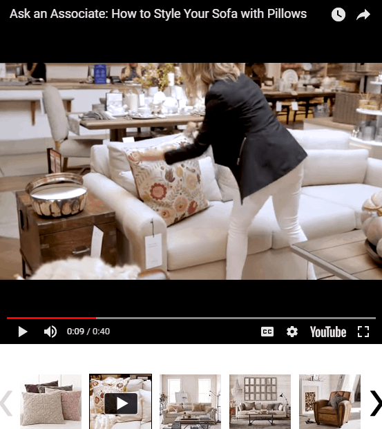 Pottery Barn Ecommerce Product Page