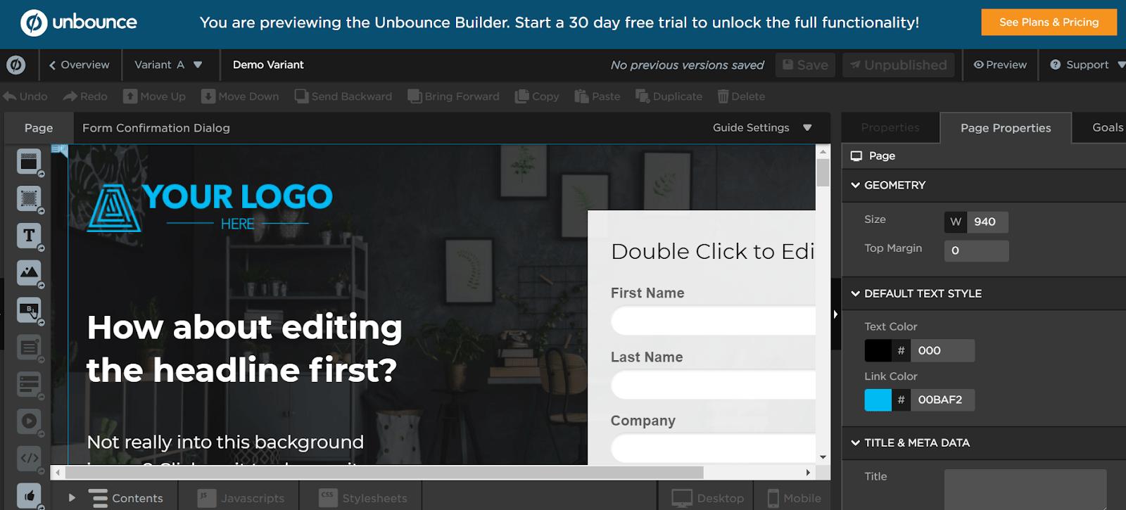 Unbounce B2B Marketing Tools