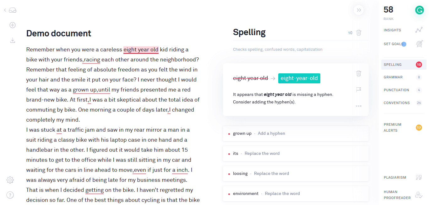 Grammarly copywriting tips
