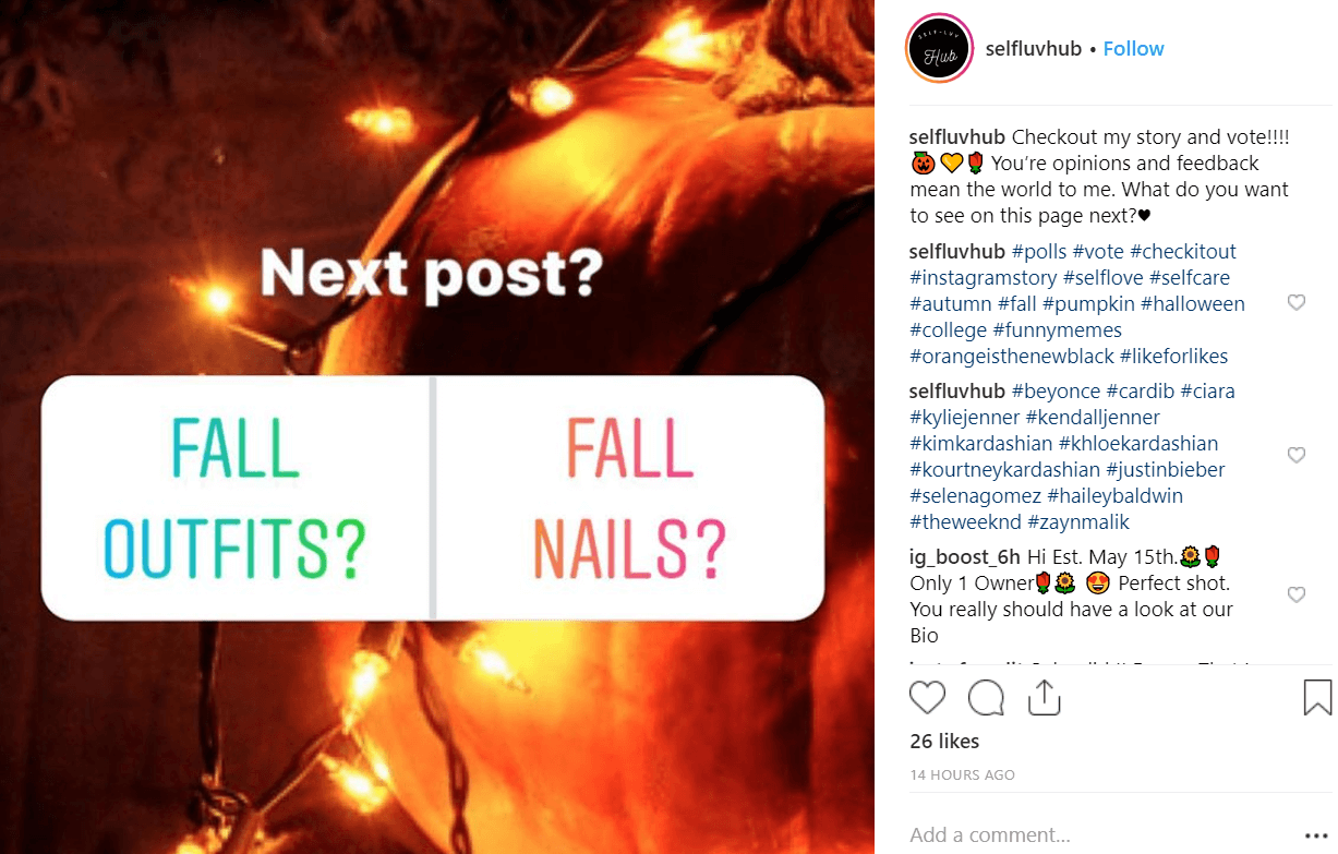 Polls are a type of Instagram Stories Stickers