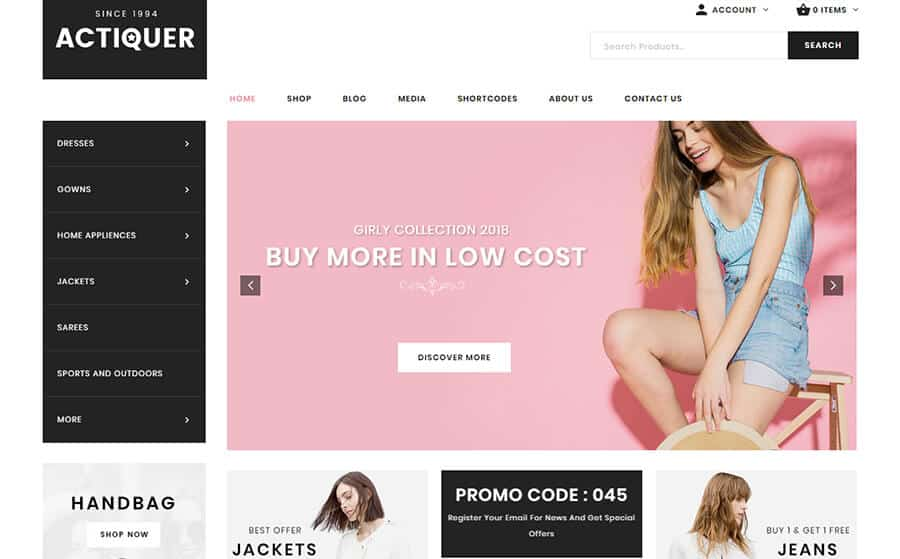 Actiquer Ecommerce Template