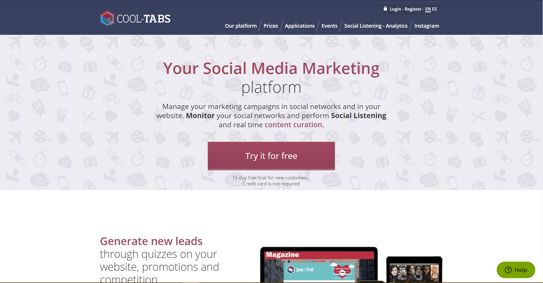Cool Tabs Social Media Marketing Tool