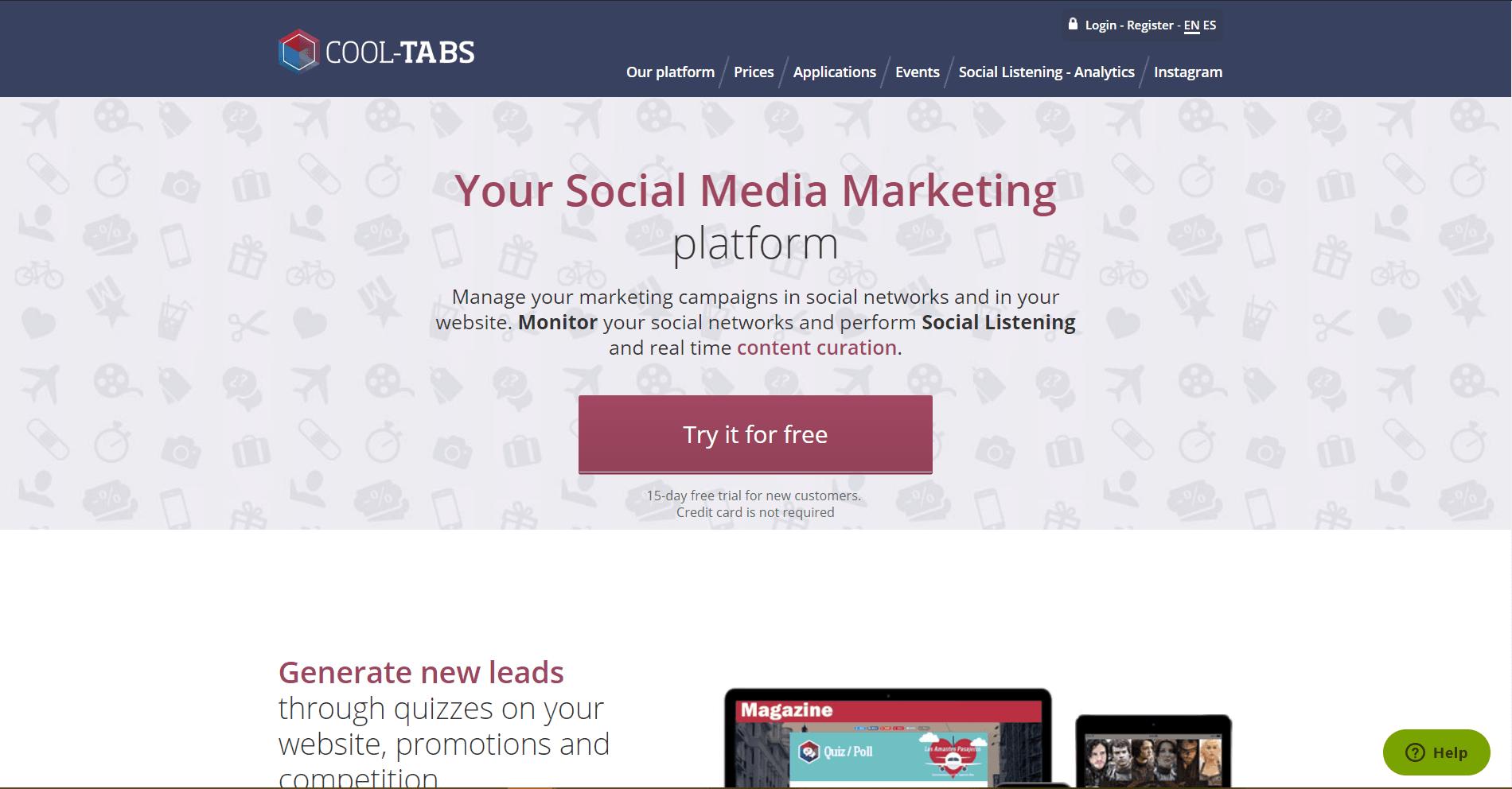 Cool Tabs Social Media Marketing Tool