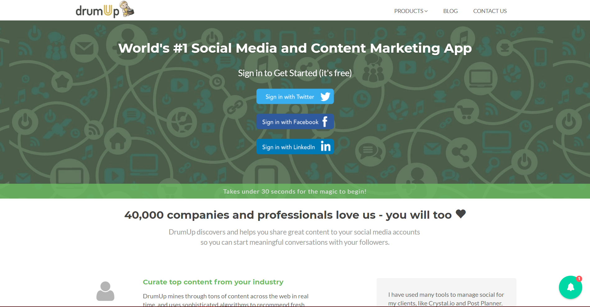 DrumUp Social Media Marketing Tool
