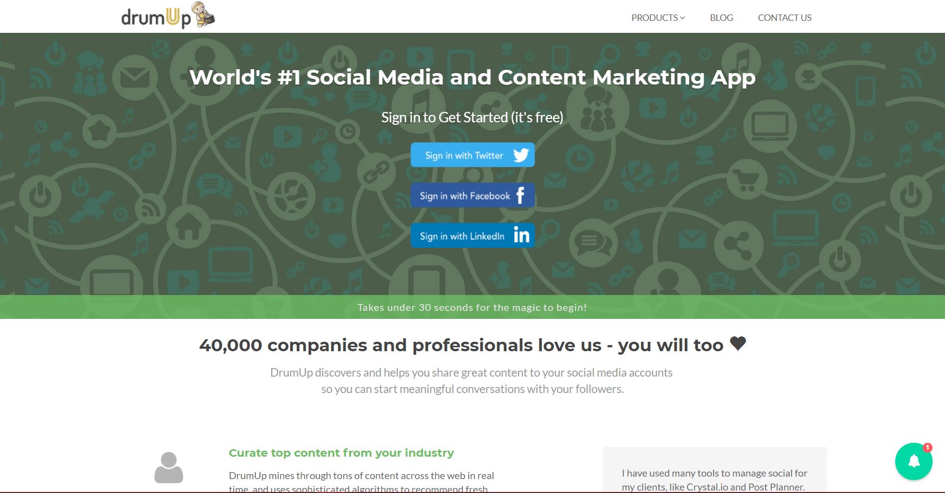 DrumUp Social Media Marketing Tool