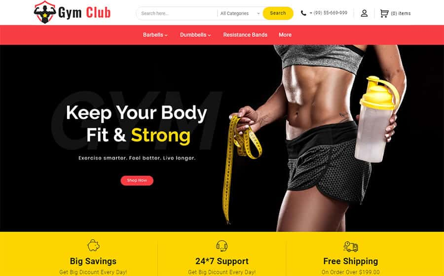 Gym Club Ecommerce Template
