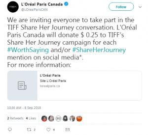 L'Oréal paris canada Hashtag Campaigns