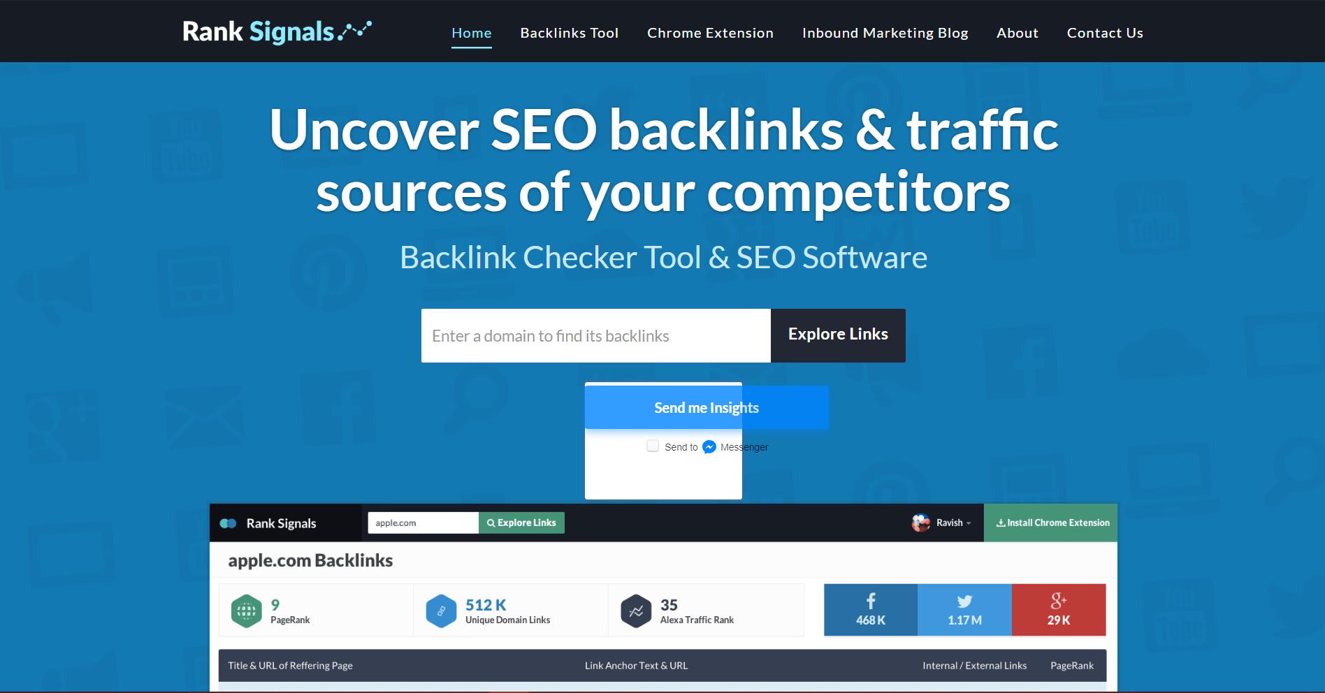Rank Signals Backlink Analysis Tool