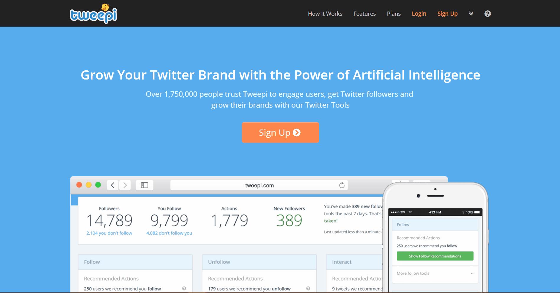 Tweepi Social Media Marketing Tool