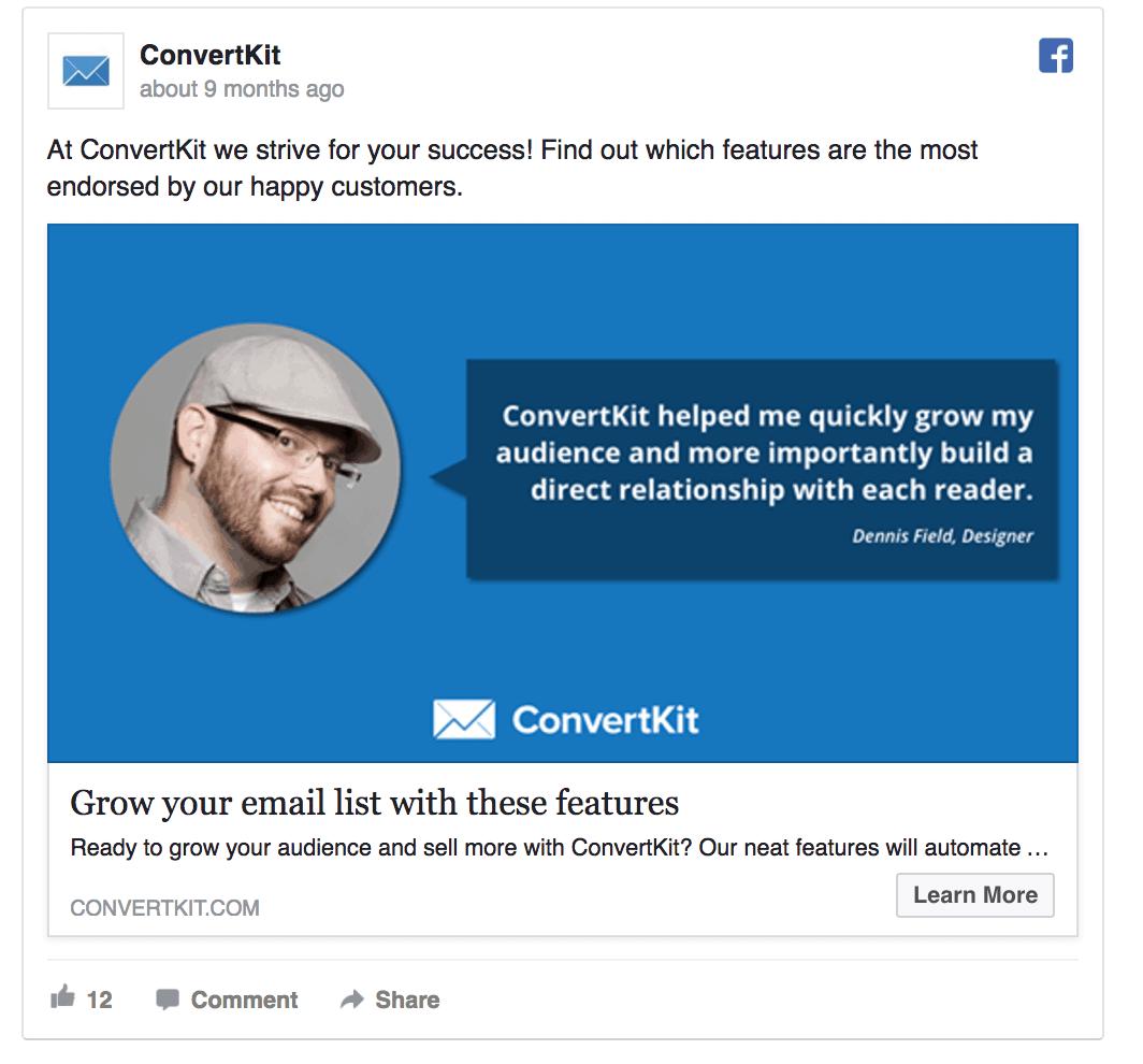 ConvertKit facebook B2B Facebook Ads