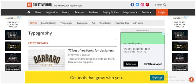 Creative Bloq Website Navigation
