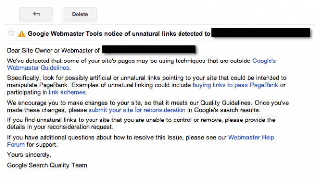 Google Webmaster Tools penalty removal