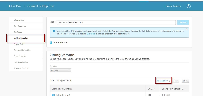 Moz Link Explorer tool Competitor Keyword Analysis