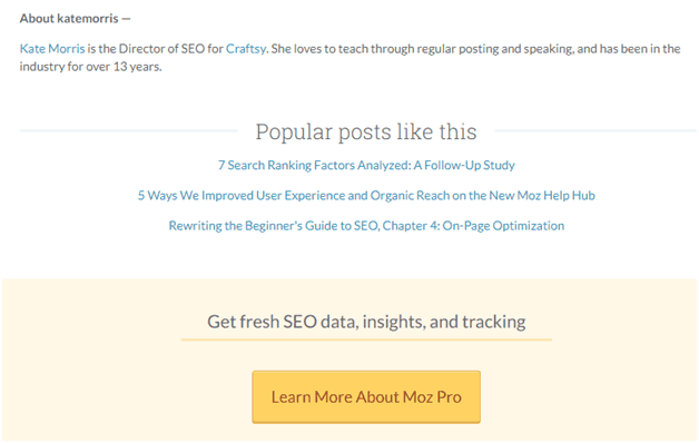 Moz call to action CRO and SEO