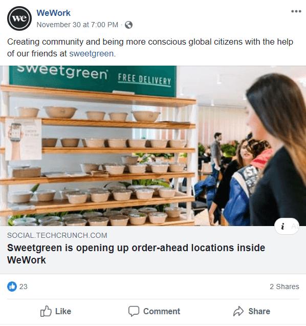 WeWork facebook B2B Facebook Ads
