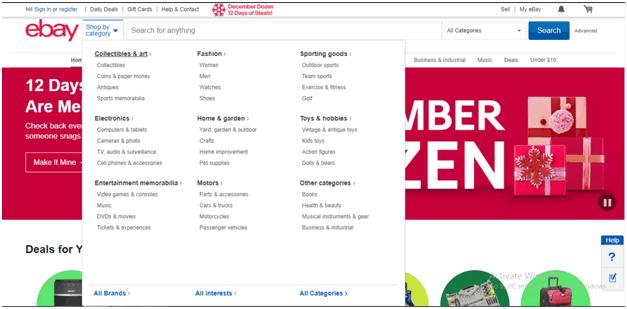 eBay Website Navigation