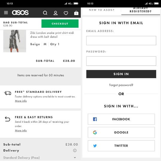 ASOS Mobile Shopping Cart