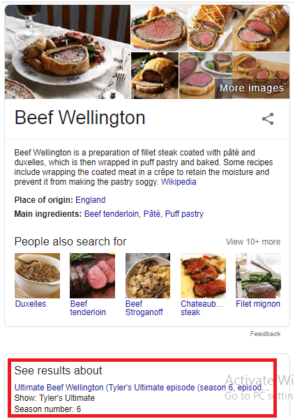 Beef Wellington Knowledge Graph