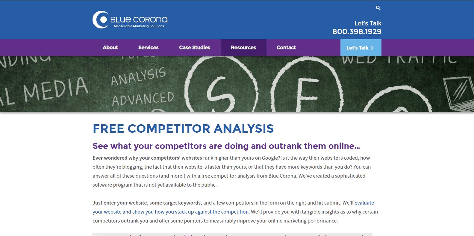 Blue Corona Competitor Analysis Tools