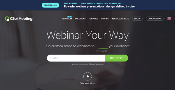 ClickMeeting Webinar Hosting Website