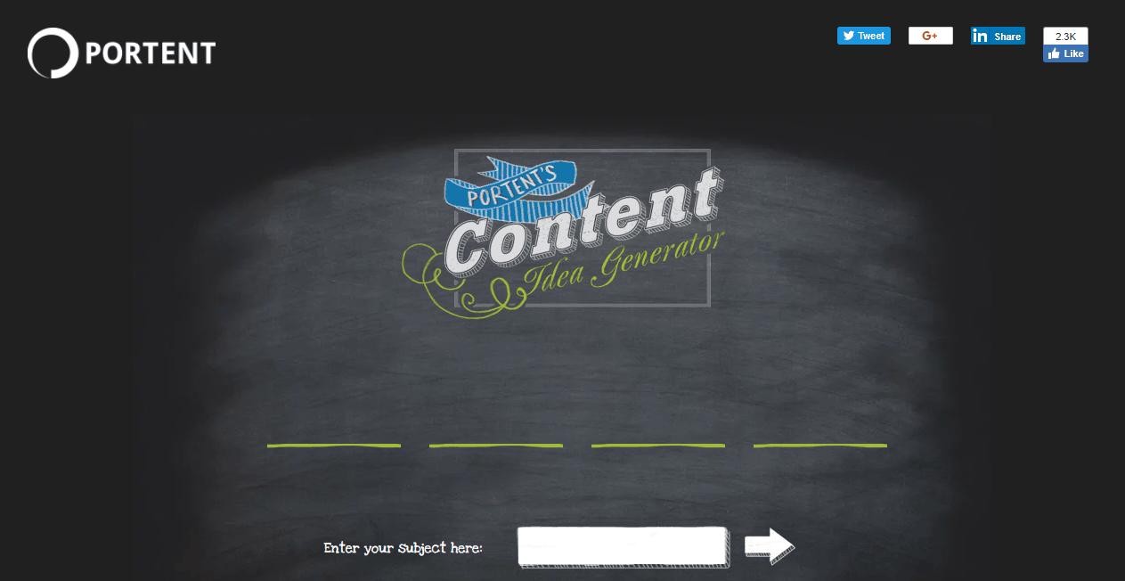 Content Marketing Platform Portent Content Idea Generator