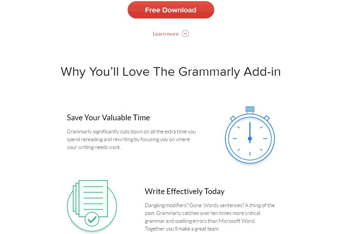 Grammarly call-to-action