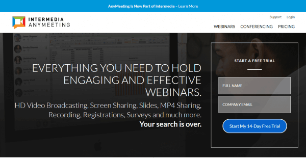 Intermedia AnyMeeting Webinar Hosting Website